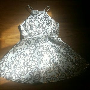 White Rose Gold Sequin Dress